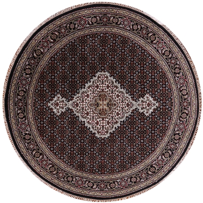 Round Persian Tabriz Wool & Silk Area Rug