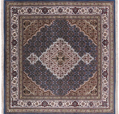 Square Wool & Silk Persian Tabriz Rug