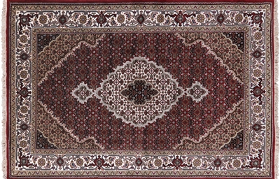 Persian Tabriz Hand Knotted Wool & Silk Rug
