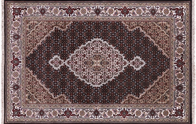 Persian Tabriz Hand Knotted Wool & Silk Area Rug