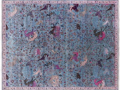Persian Contemporary Hunting Scene Pure Silk Hand Knotted Rug