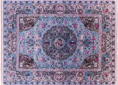 Contemporary Hand Knotted Pure Silk Persian Area Rug