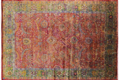 Hand Knotted Pure Silk Persian Sickle Leaf Rug