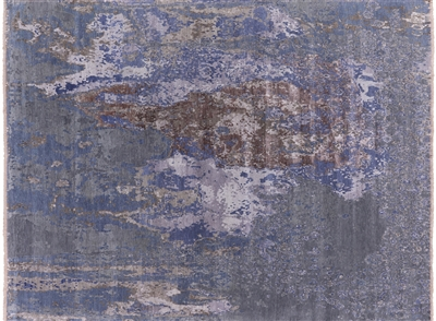 Abstract Hand Knotted Wool & Silk Oriental Area Rug