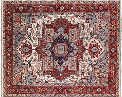 Traditional Heriz Serapi Hand Knotted Area Rug