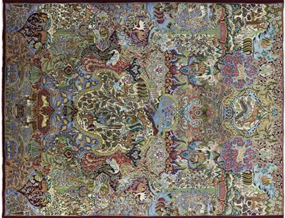 Oriental Pictorial Authentic Handmade Persian Kashmar Area Rug