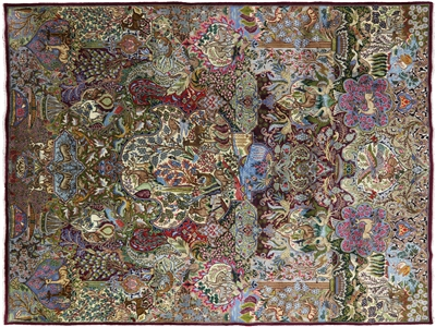 Pictorial Persian Kashmar Hand Knotted Area Rug