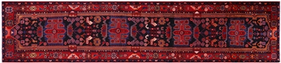 New Persian Nahavand Hand Knotted Wool Runner Rug