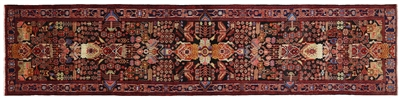 Runner Hand Knotted Wool Persian Nahavand Rug