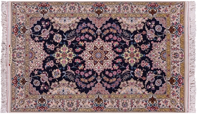 Signed Hand Knotted Persian Isfahan Wool & Silk Rug