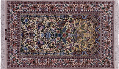 Super Fine Silk Authentic Signed Persian Isfahan Area Rug