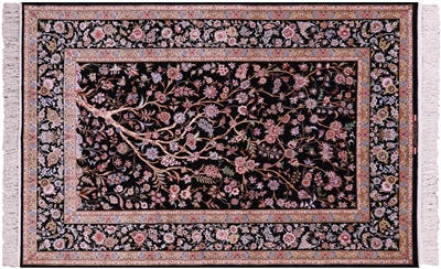 Black Persian Isfahan Tree of Life Hand Knotted Wool & Silk Rug