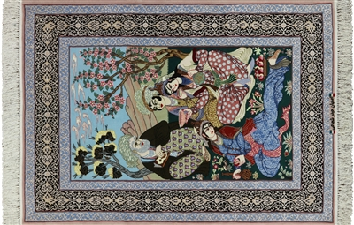 Pictorial Scene Persian Hand Knotted Wool & Silk Signed Isfahan Rug
