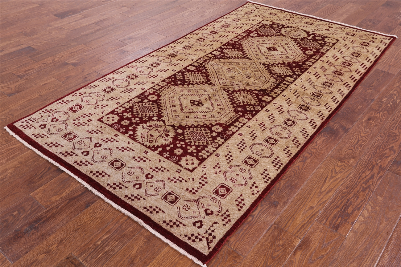 Peshawari Chobi Collection Oriental 4x8 Hand Knotted Oushak Style Wool Rug  W153