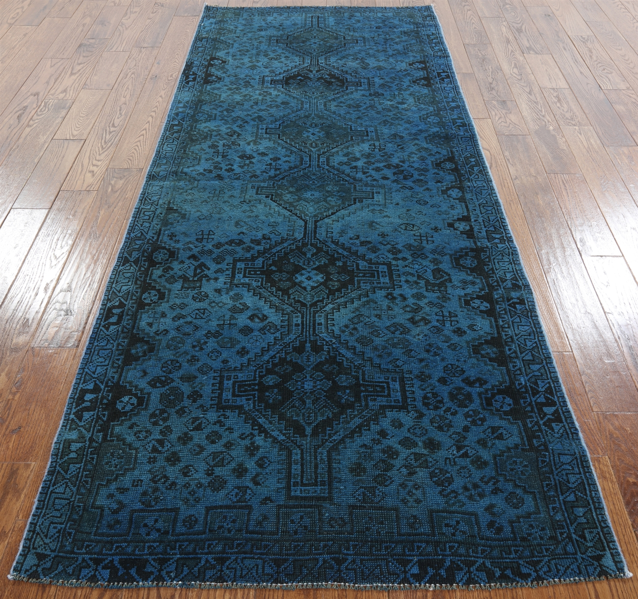 10x10 Square New Oushak Oriental Wool Area Rug: 4'x9' Runner Overdyed Hand Knotted Blue Oriental Wool Area
