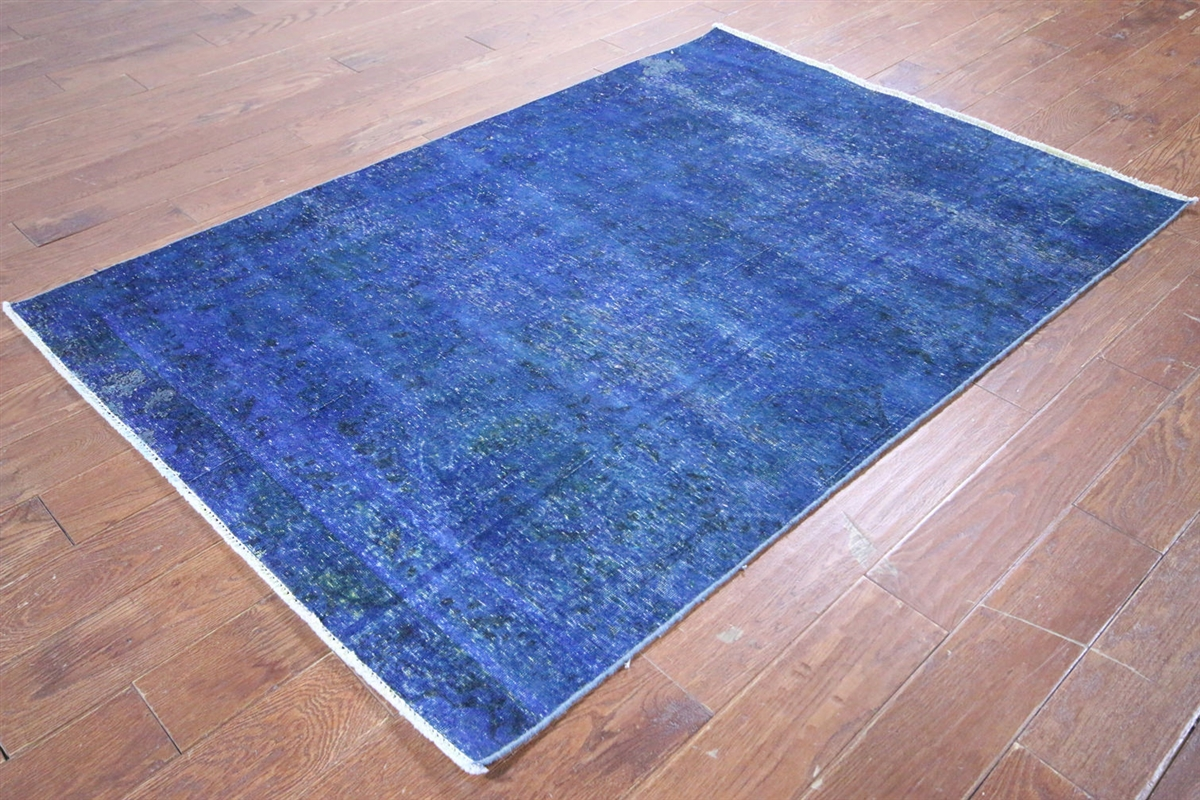 Vintage Collection 4'x6' Blue Overdyed Hand Knotted ...