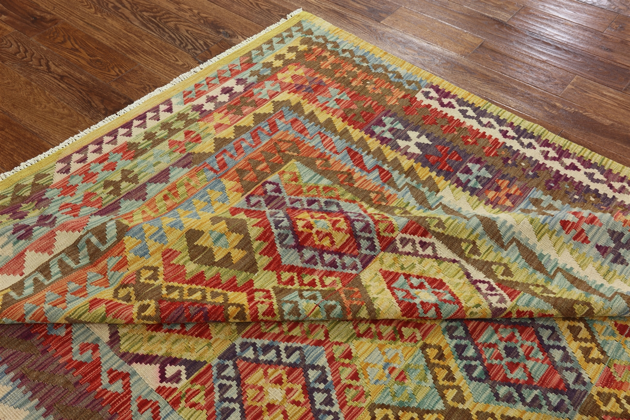 7 X10 Tribal Collection Hanmdade Kilim Multi Hand Knotted