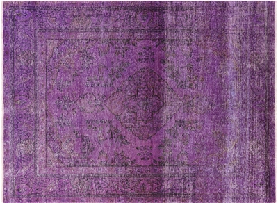 Overdyed Hand Knotted Purple Veg Dyed Wool