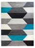 Impulse Hexa Geometric Rug - Grey/Teal