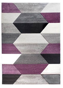 Impulse Hexa Geometric Rug - Grey/Purple