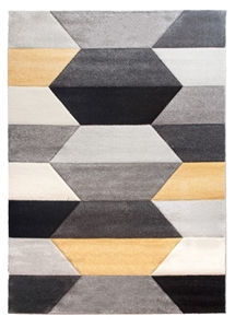 Impulse Hexa Geometric Rug - Grey/Red