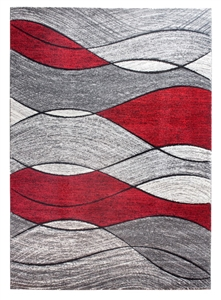 Impulse Waves Geometric Rug - Grey / Red