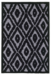 finesse diamond high-low shaggy grey black rug