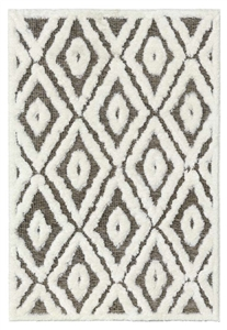 finesse diamond high-low shaggy cream brown rug
