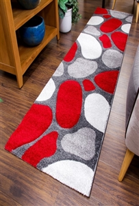 Pebbles Runner Rug Red Gray