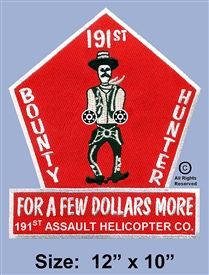 "191ST AHC 3RD PLATOON GUNS  ""BOUNTY HUNTER"" MINI-GUNS 12"" JACKET PATCH (2ND DESIGN)"