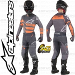 Alpinestars 2019 Racer Flagship Mid Grey Anthracite Orange Fluo Race Jersey Pants Combo Kit