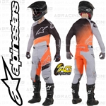 Alpinestars 2019 Racer Supermatic Light Grey Orange Fluo Race Jersey Pants Combo Kit