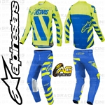Alpinestars 2019 Racer Braap Blue Yellow Fluo Race Youth Children's Jersey Pants Combo Kit