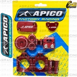 Apico Factory Red Bling Pack Covers Clamp Plugs Caps Nuts For Honda CRF 250R 2004-2009