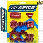 Apico Factory Red Bling Pack Covers Clamp Plugs Caps Nuts For Honda CRF 450X 2005-2018