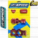 Apico Factory Red Bling Pack Covers Clamp Plugs Caps Nuts For Honda CRF 450R 2009-2016