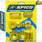 Apico Factory Gold Bling Pack Covers Clamp Caps Rim Nuts Plugs Axle Blocks For Suzuki RMZ 250 2007-2018