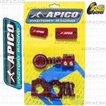 Apico Factory Red Bling Pack Covers Clamp Caps Rim Nuts Plugs Axle Blocks For Suzuki RMZ 250 2007-2018