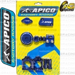 Apico Factory Blue Bling Pack Covers Clamp Caps Rim Nuts Plugs Axle Blocks For Yamaha YZ 450F 2010-2013