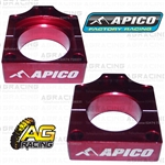Apico Red Rear Chain Adjuster Axle Blocks For Honda CRF 250R 2004-2018