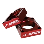 Apico Red Rear Chain Adjuster Axle Blocks For Honda CRF 150R 2007-2018