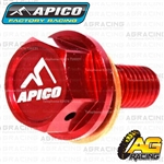 Apico Red Magnetic Sump Drain Bolt Plug M8x20mmx1.25 For Honda CRF 450R 2009-2015