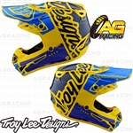 Troy Lee Designs 2019 SE4 Polyacrylite Helmet Factory Yellow Blue