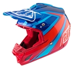 Troy Lee Designs SE3 Helmet Neptune Navy Cyan Red Motocross Enduro
