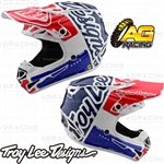 Troy Lee Designs 2019 SE4 Polyacrylite Youth Kids Helmet Factory White Blue