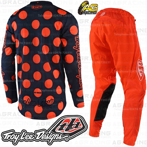 Troy Lee Designs GP AIR Polka Dot Navy Orange Motocross Race Jersey Youth Medium