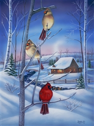 Winter's Eve Cardinals By Robert Andrea