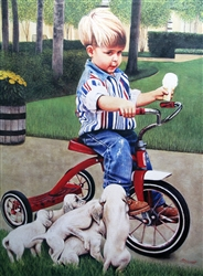 Boy on Trike with Puppies - Clarence Stewart