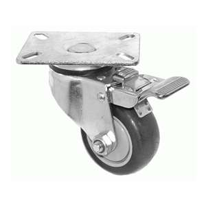 "4-3/8""H. Plate Style PU Caster w/ Total Lock Brake, 250 lbs Capacity For Fryers, Kitchen Equipment & S/S Bus Carts KP4217"