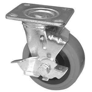 "5""H. Plate Style 4""Wx4-1/2""L, Heavy Duty Industrial PU-Caster w/Brake, 600lbs For Heavy Equipment KP5111"
